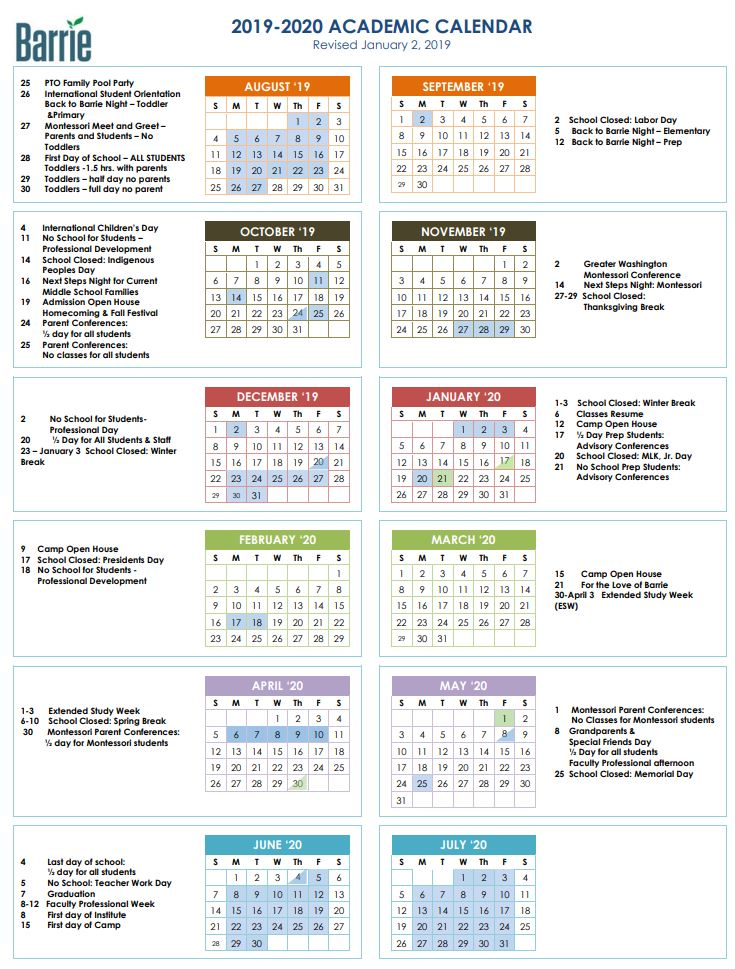 2019-20 Condensed Calendar Now Available